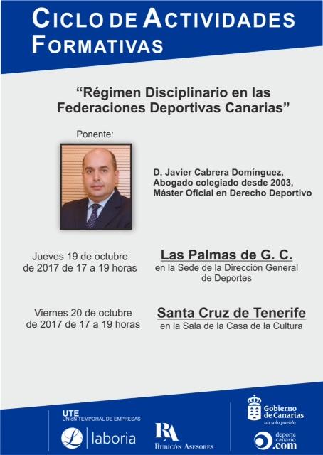 """CURSO """"RÉGIMEN DISCILINARIO EN LAS FEDERACIONES DEPORTIVAS CANARIAS"""""""